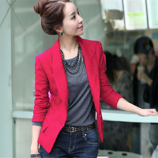 fde2ea83b4ca Mulheres Jaqueta de Moda Primavera Casaco Fino Outerwear Terno Blazer Jacket  One Button Brasão 3 Cores