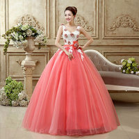 In Stock Cheap Quinceanera Dresses Vestidos De 15 Anos Pearls Tulle 3D Flowers Blush Pink Sweet