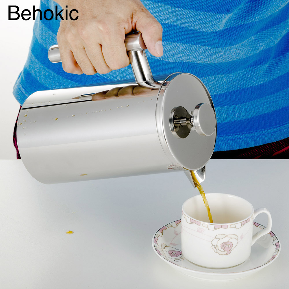 Behokic 800ml Double Wall Stainless Steel Insulated Coffee Teapot coffee press French Press Coffee Maker Tea Pot With Filter