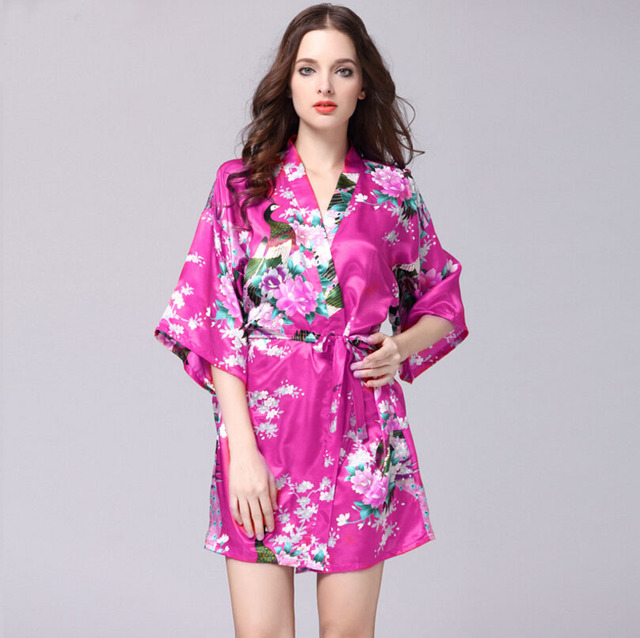 Sexy Large Size Sexy Satin Night Robe Lace Bathrobe Perfect Wedding Bride Bridesmaid Robes Dressing Gown For Women Floral SQ43