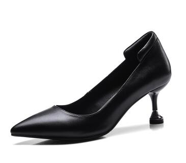 Black multipurpose shallow pointed toe high heel shoes for women Ladies off white thin heel pumps Dress shoes Female work shoes black smooth leather women pointed toe ankle buckle pumps deep v back ladies blade heel shoes spring fashion female dress shoes