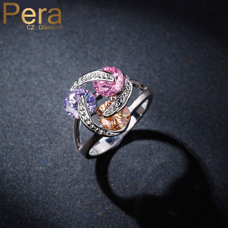Summer Style Fashion Ladies CZ Jewelry 3 Twist Tiny Round Multi Color Crystal Stone 925 Sterling Silver Women Party Ring R037