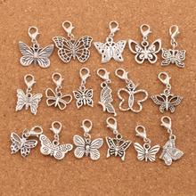 mix Butterfly Charm Bead 17styles 170pcs Antique Silver Floating Lobster Claw Clasp Beads CM57