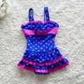 Baby Girl Verão Maiô de Uma Peças Conjunto Arco Pontos Swimwear Praia Criança Miúdos Bonitos Swimwear Biquíni S2023