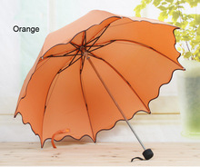 Fresh Candy Color  Cute Flouncing Lace Umbrella Non-automatic Umbrella Rain Women Folding Female Umbrellas