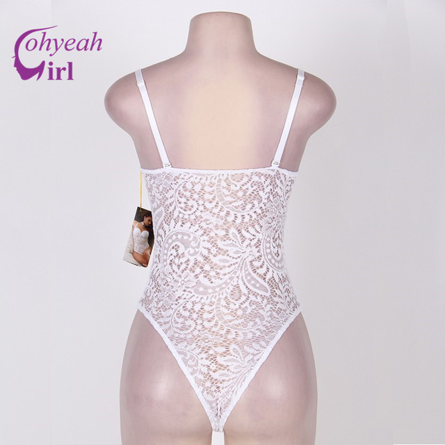 Solid white floral lace latex bodysuit see through sexy lingerie