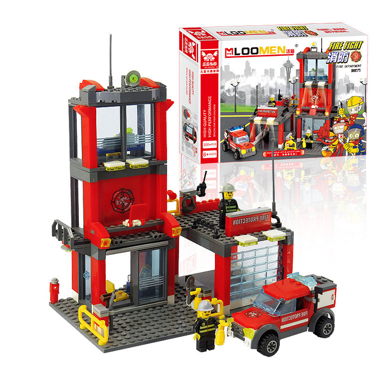 300PCS DIY Fire Station&Fire Fighting Truck Building Blocks Plastic Toys Kit Small Particles Building Blocks Educational Toy