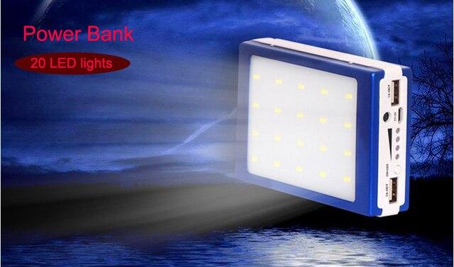20000 мАч Solar Power Bank с функцией SOS 20 СВЕТОДИОДНЫХ огней Внешний солнечное зарядное устройство powerbank для всех мобильных телефонов для на открытом воздухе
