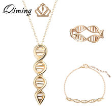 QIMING 3pcs DNA Women Jewelry Sets Science Chemistry Chain Necklace Bracelet Charms Gold Rings Silver Jewelry Best Gift(Hong Kong,China)