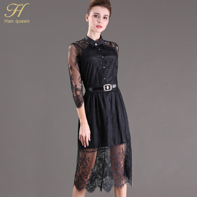 S-5XL 2016 Summer Dresses Hollow Out Women Half Sleeve Elastic Waist Floral Crochet Casual black Lace Dress Femininas Vestidos