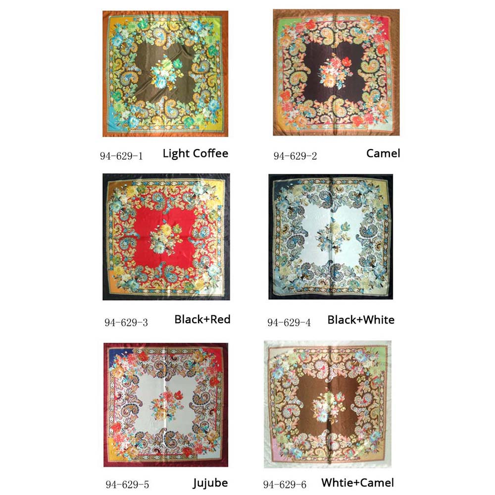 New luxury brand women plain silk   scarf   paisley printed square   scarves     wraps   fashion hijab headband 90cm shawls neck scarfs