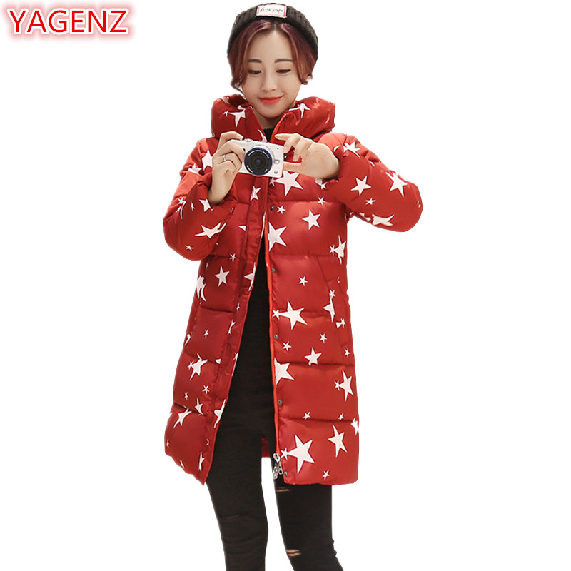 YAGENZ Fashion   Parka   Mujer Long Coat Winter Jacket Women Down Cotton Coat Student Warm Five-pointed Star Printing Hooded Tops401