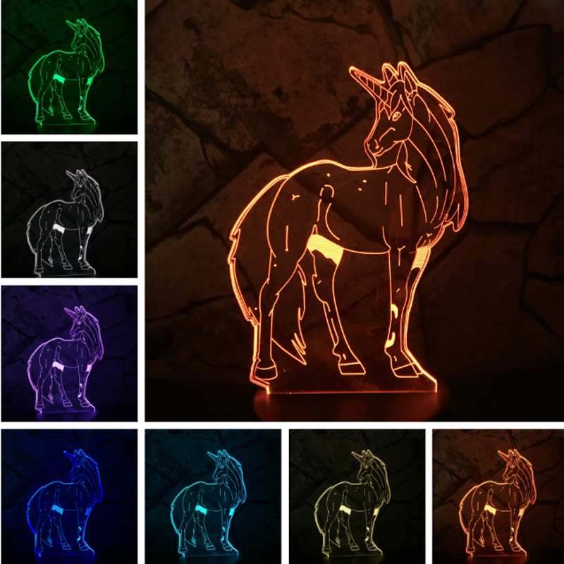 New 2018 lava Unicorn Pony girl Princess LED lampara 3D Dog Night Lamp Light USB Touch 7 Color Change Flash Desk Lamp Kid Gift
