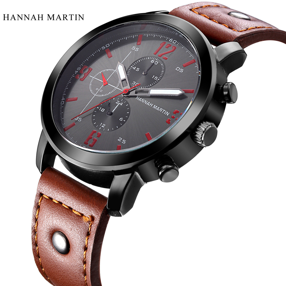 6f069046 US $9.31 30% OFF|Hannah Martin Mens Watch Brand Luxury Sport Quartz Watch  Fashion Watches Military Leather Strap Men Wristwatch Relogio Masculino-in  ...