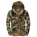 Бесплатная Доставка Осенью и зимой мужская мода камуфляж с капюшоном мужская Флис Пары с капюшоном случайно куртку 105.78yw