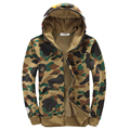 O Envio gratuito de moda Outono e inverno camuflagem dos homens moletom com capuz Casais Velo dos homens com capuz jaqueta casual 105.78yw
