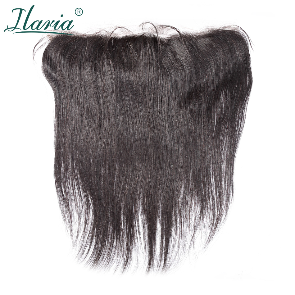 ILARIA HAIR Brazilian Straight Human Hair Lace Frontal Closure With Baby Hair 13x4 Ear To Ear Pre-Plucked With Bleached Knots