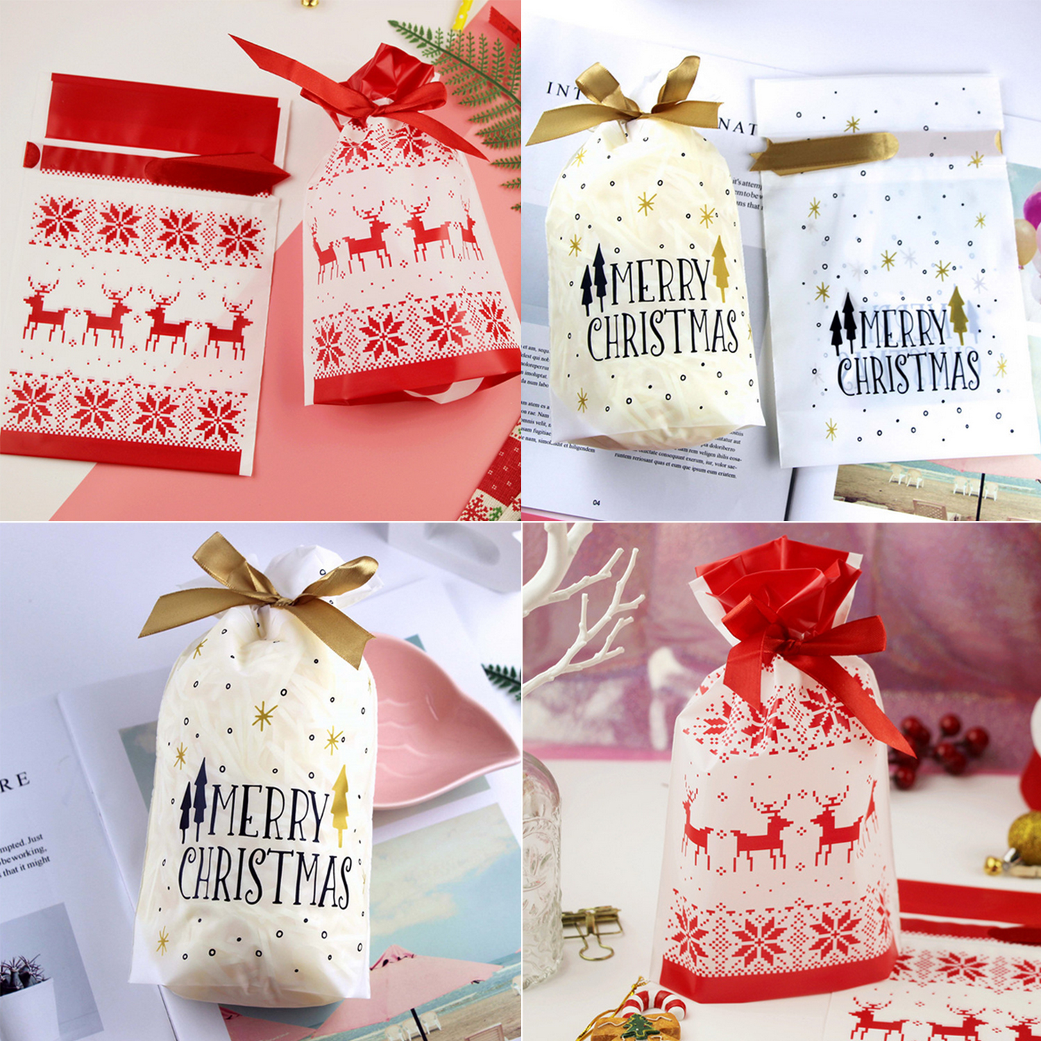 Behogar 10PCS Cute Lovely Merry Christmas Candy Cookies Gift Drawstring Bag for