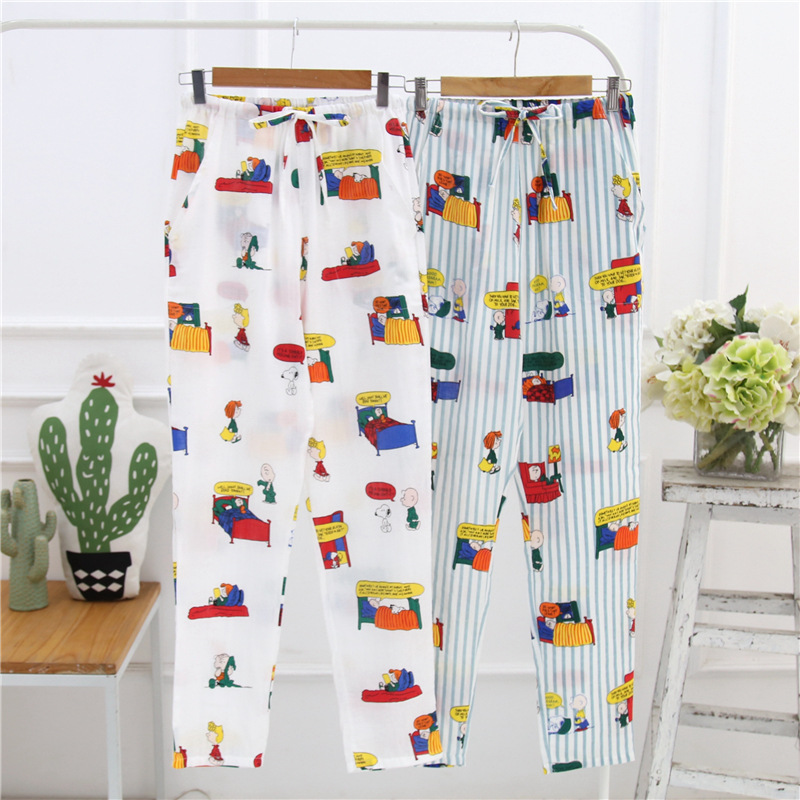 Sleep Bottom Women 100% Cotton Full Pants Lady Home Cartoon Pajamas Sexy Soft Slip Summer Pant Big Size Student Sleepwear