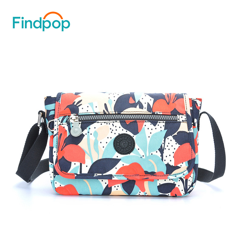 Findpop Floral Printing Crossbody Bags For Women 2018 Fashion Canvas Shoulder Bag Waterproof Small Shoulder Bags Fit For Tablets