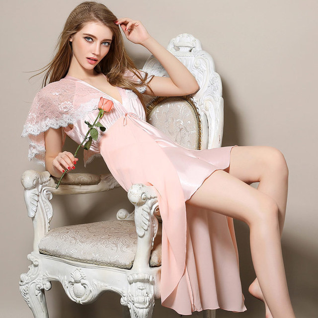 Дамы Сексуальная Шелковый Шнурок Глубокий V Шеи Ночное Платье Пижамы Babydoll Пижамы M-XL DM2508