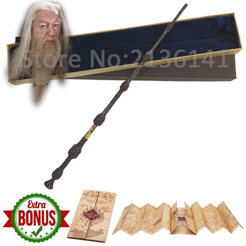 28 Kinds of Harry Movie Magic Wands with Box The Marauder's Map as Free Gift 35-41cm Grindelwald  Metal core wand