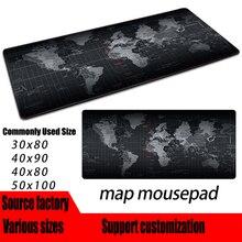 Tapete de borracha natural do rato do jogo do mousepad do jogo do mapa do mundo velho do extra grande com borda de travamento