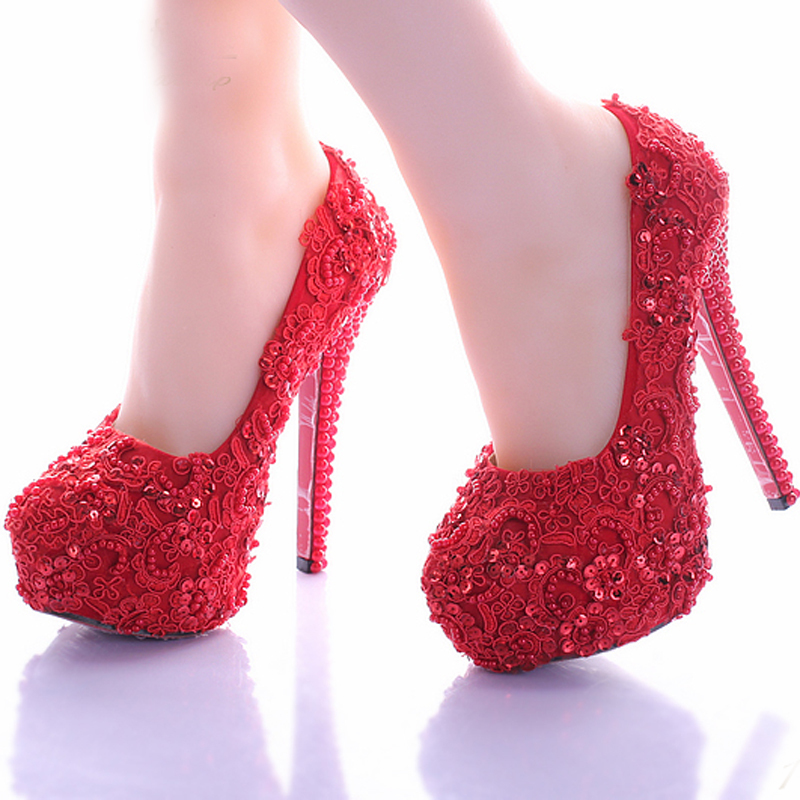 Wedding Shoes for Bride Elegant Red Lace Bridal Dress Shoes