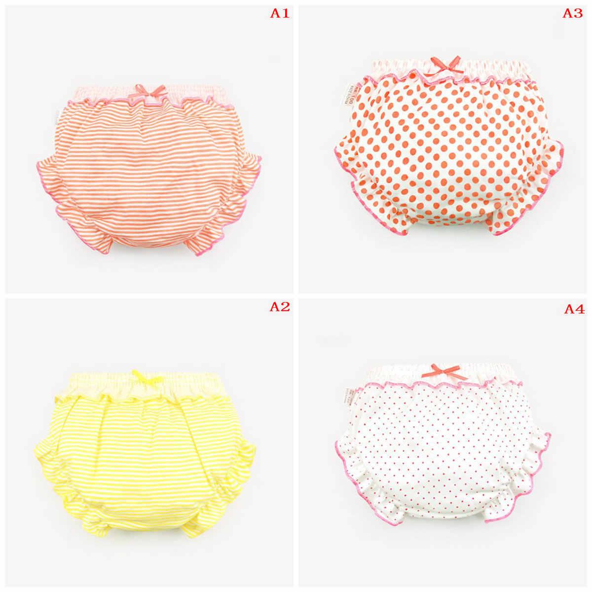 4 أنماط لطيف شريط النقاط كشكش سراويل الاطفال فتاة الرضع طفل ملابس داخلية قطنية ل 0-2T هدايا الأطفال الساخن