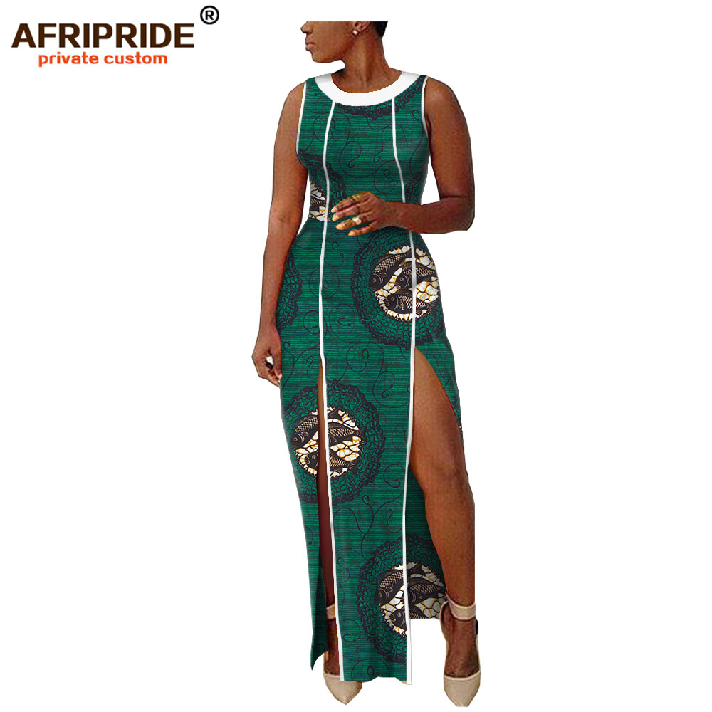 2019 spring africa dashiki batik dress for women AFRIPRIDE bazin riche sleeveless floor length split women casual dress A1825102 in Dresses from Women 39 s Clothing