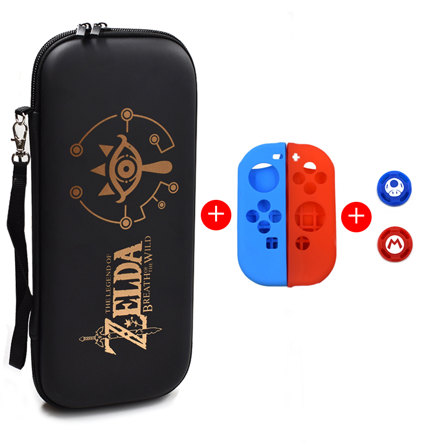 5 in 1 Nintend Switch NS Accessories Kit Protective Cover Carrying Case Bag with Slicone Case Analog Caps for Nintendo Switch 1