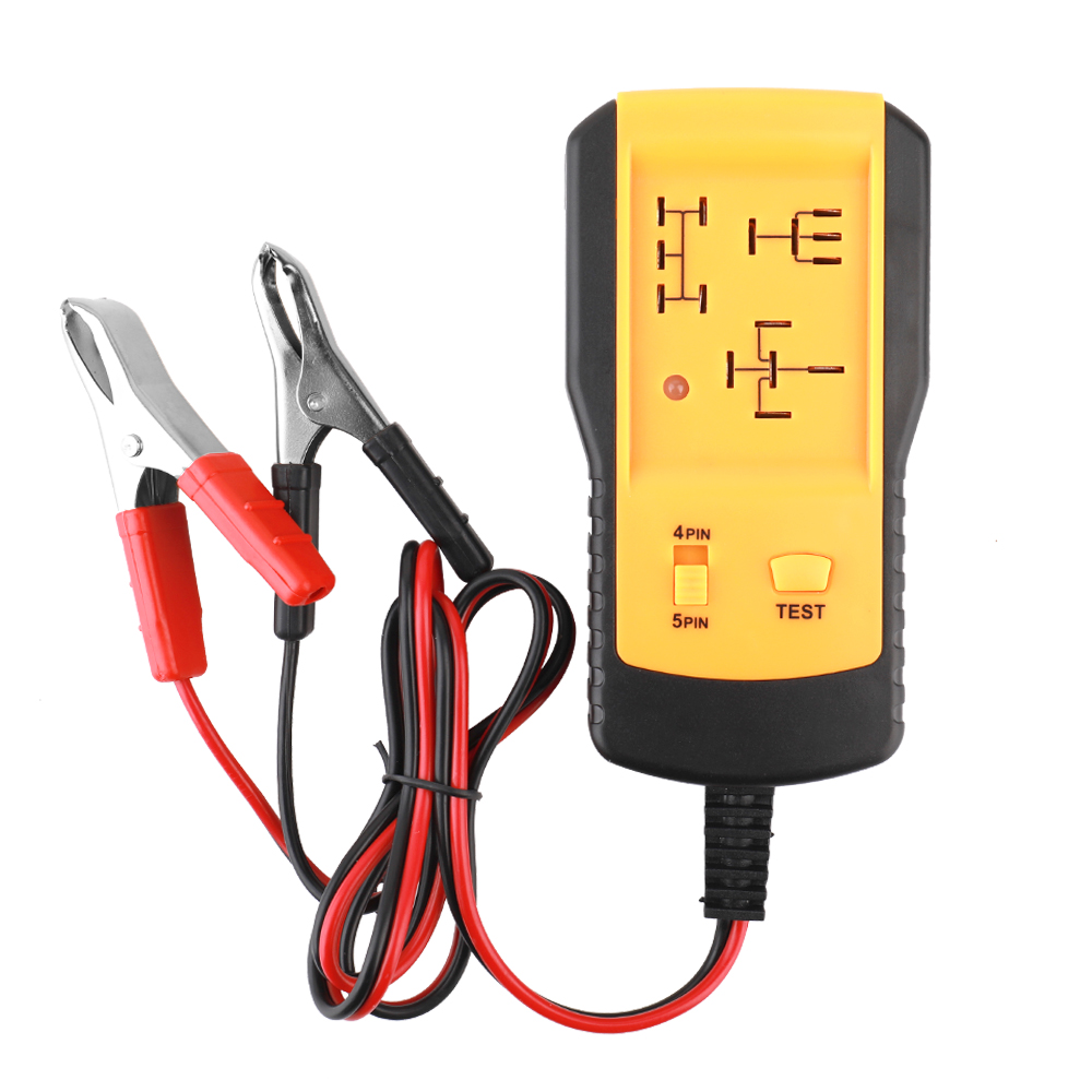 Medidor diagnóstico preciso do detector da bateria do carro do dispositivo de teste do relé do verificador do relé 12 v universal amarelo