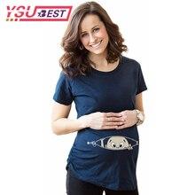 2018 Pregnant Women T shirts Maternity Clothes Summer Slim Cartoon Funny Nursing Top Letters O Neck