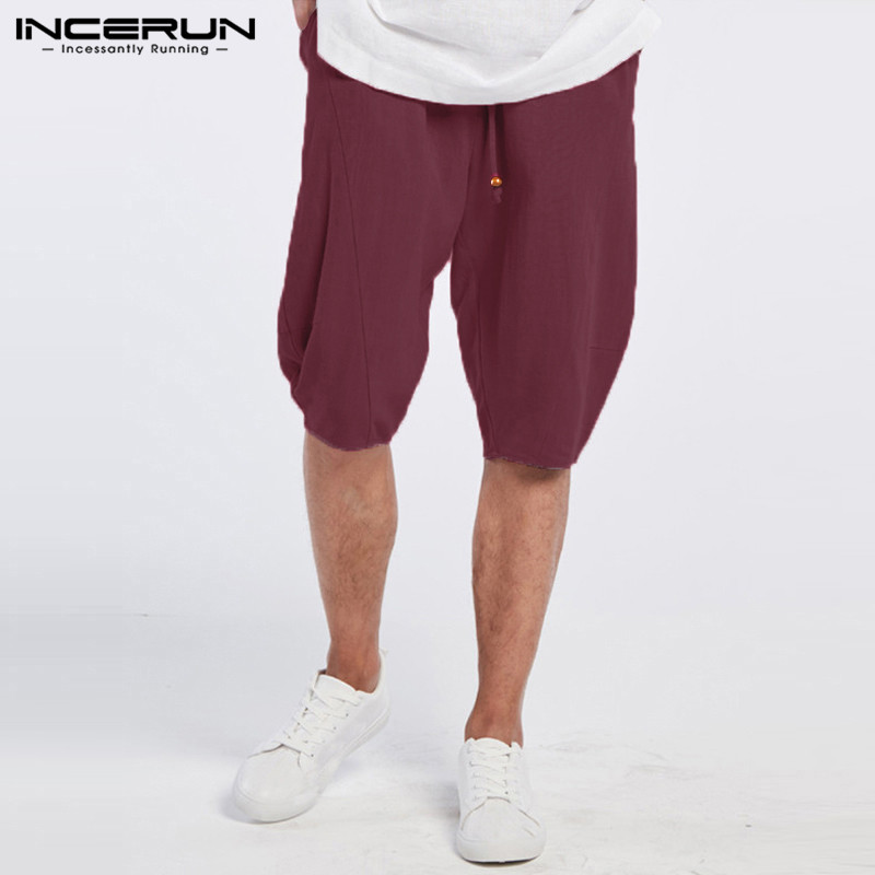 New 2018 Summer Men Shorts Cotton Casual Loose Elastic Waist Haren Knee Length Men's Clothing Shorts Male Beach Shorts
