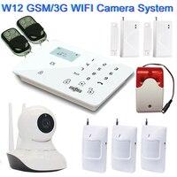 Home Alarm Monitoring Sysem kits with WiFi IP Camera GSM Camera System 360 Rotation Video SMS Alarm GSM Smart Alarm Siren Strobe