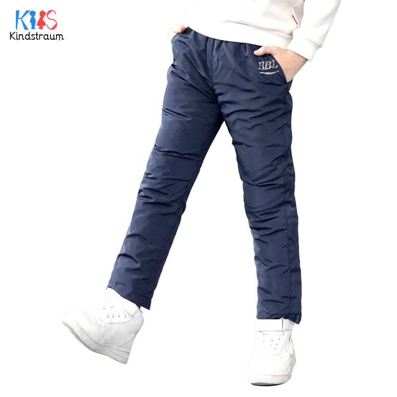 Kindstraum 2018 Boys Thick Cotton Down Pants Winter Solid Wear for Girls Causal Children Elastic Waist Trousers,RC1635 2018 spring girls and boys fashion loose straight elastic waist plaid cotton pants kids children casual wholesale long trousers