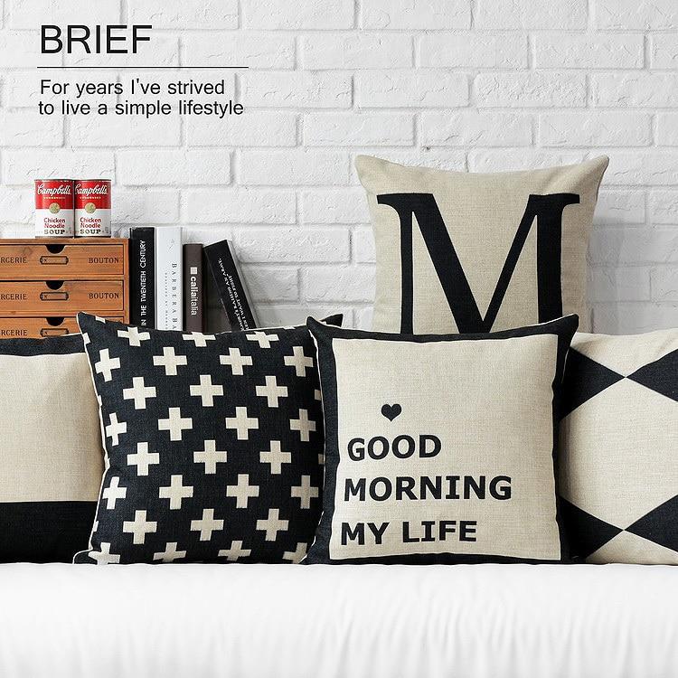 Nordic Black White Geometry Pillow  Linen Cotton Pillow Geometric Cushion  Pillowcase Home Decorative Pillows