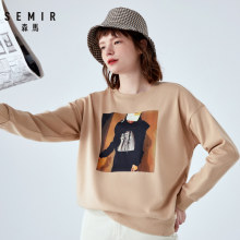 SEMIR Sweatershirt 2019 new female autumn loose Korean round neck pullover shoulder sleeves printed hoodies chic Hong Kong flavo(China)