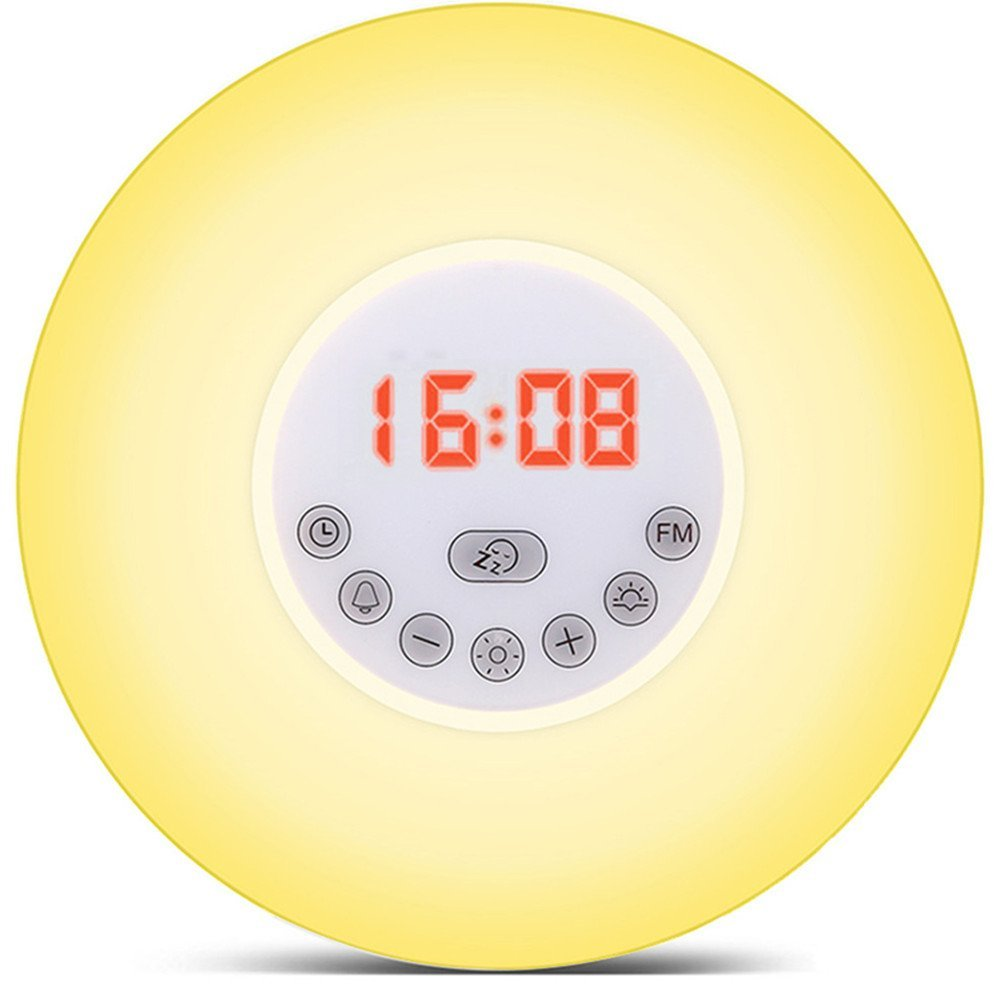 Lumiparty Wake Up Light Sunrise Simulation Alarm Clock with Sunset & Snooze Function Bedside Night Light Colorful Lamp& FM Radio philips hf350570 wake up light световой будильник