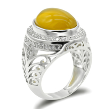 все цены на 925 Sterling Silver Men Ring with Big Yellow Natural Onyx Stone Openwork Design Clear CZ Ring for Men Women Fashion Jewelry онлайн