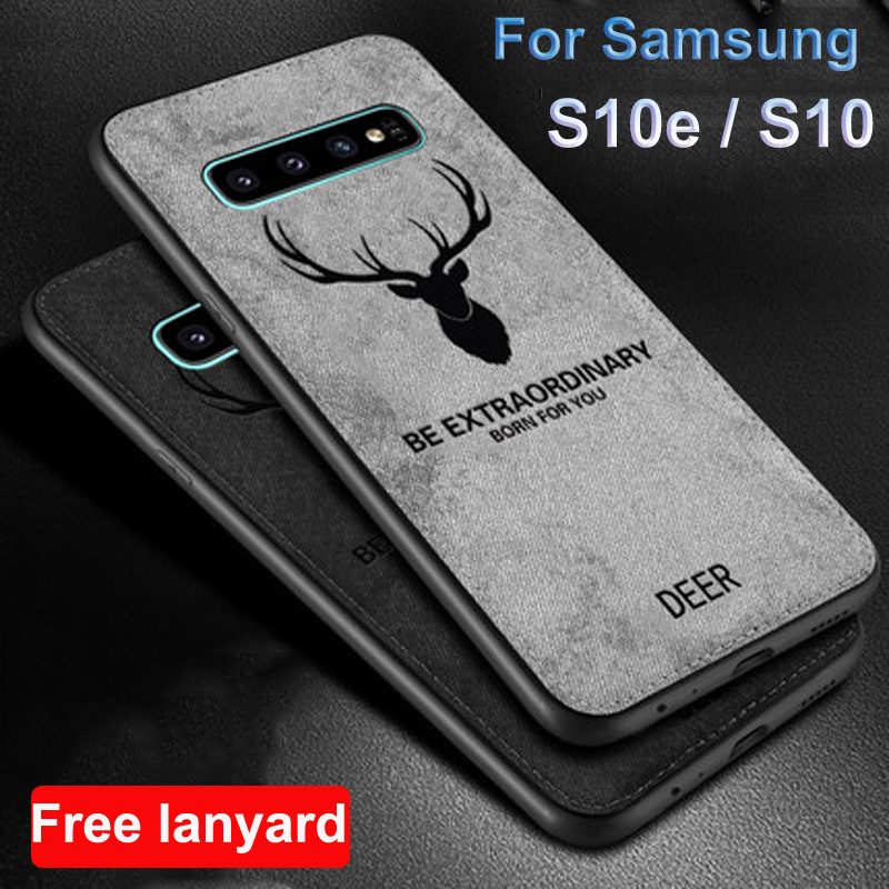 For Samsung galaxy S10 S10e Case fabric Soft Back Cover For Samsung S10e S10 e <font><b>G9700</b></font> case <font><b>SM</b></font>-<font><b>G9700</b></font> Deer Cloth + TPU phone shell image