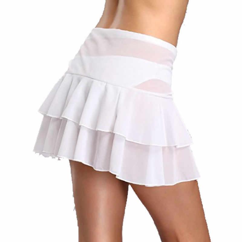 0561042c1bb5f ... Sexy Lace-up Beach Cover Up Skirt Women Ruffles Layred Chiffon  Beachwear Short Bathing Suit ...
