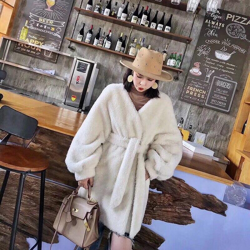Manteau Lanterne Chaud Longue Lâche Épais Pic Hiver Libre Occasionnel as Veste Laine Taille Jaune Femmes Pic Cadigan 2018 Haute Blanc Qualité As Manches 100 7TnxOCwSIq