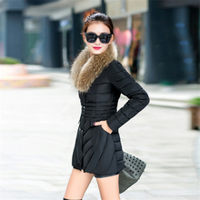 Medium Long 2016 Winter Jacket Coat Womens Warm White Duck Down Parkas Thicken Hooded Faux Fur Collar Double Breasted Overcoat