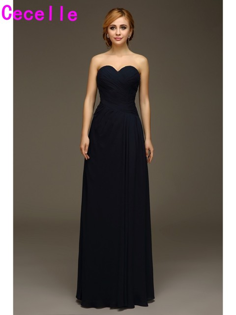 4b6aeeb5fc Long Dark Navy Blue Chiffon Wedding Bridesmaids Dresses Sweetheart Ruches  Formal Dresses For Wedding Party A-line Floor Length