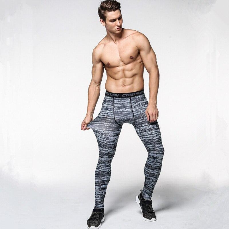 Для мужчин камуфляж Штаны сжатия быстросохнущие брюки Леггинсы для женщин Бег Спорт Тренажерный зал Мужской брюк Капри фитнес S-3XL