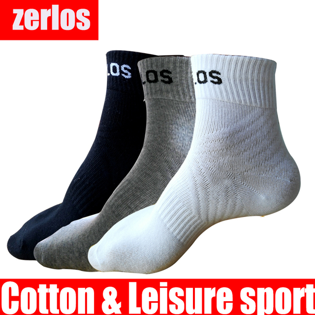 3 pairs /lot size 40-43 zerlos brand high quality socks men cotton crew socks black white gray compression happy mens socks
