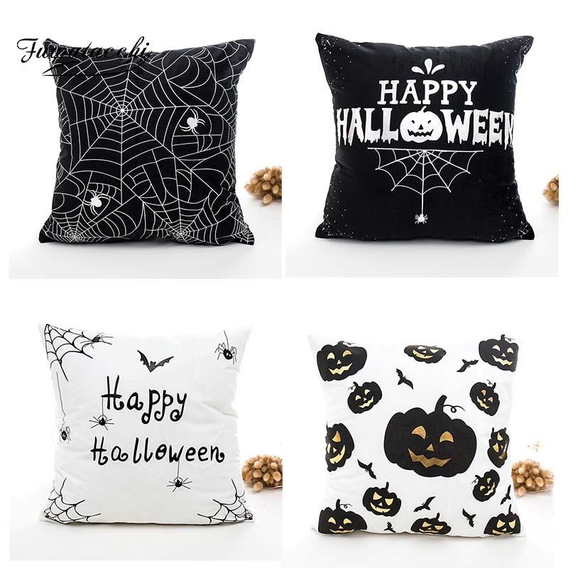 Fuwatacchi Halloween Bats Spider Wibe Gold Foil Cushion CoverThrow Pillow Cover For Sofa Pumpkin Lantern Pillowcase