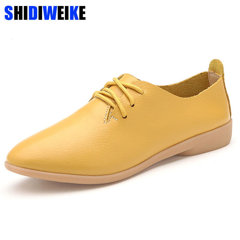 SHIDIWEIKE Genuine Leather Oxford Shoes For Women Round Toe Lace-Up Casual Shoes Spring And Autumn Flat Loafers Shoes 35-41 M129 genuine leather handmade women shoes vintage spring and autumn women shoes flat shoes low top casual shoes free shipping