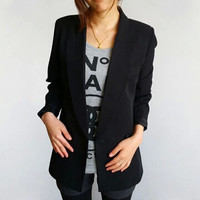 Autumn New Brand Formal Office Fashion Coat Women Casual Black Long Sleeve Jacket Fitted Blazer
